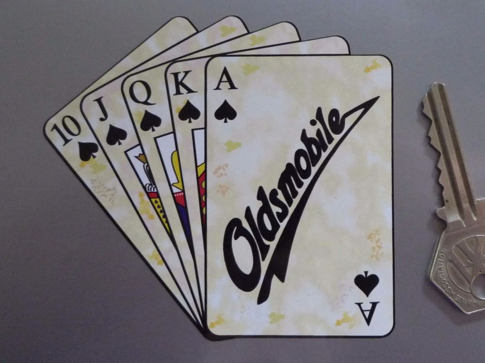 "Oldsmobile Royal Flush Playing Cards Style Sticker. 4""."