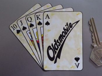 "Oldsmobile Royal Flush Playing Cards Style Sticker. 4""."
