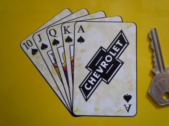 "Chevrolet Royal Flush Playing Cards Style Sticker. 4""."