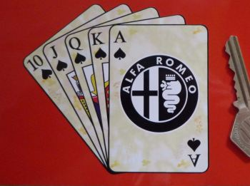 "Alfa Romeo Royal Flush Playing Cards Style Sticker. 4""."