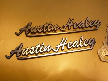 "Austin Healey Script Style Self Adhesive Car Badges. 5.5"" Pair."