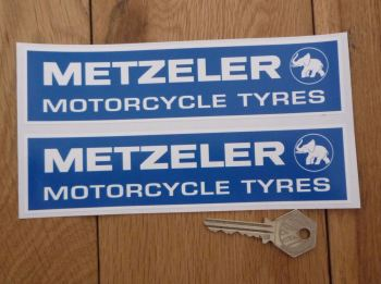 "Metzeler Motorcycle Tyres Oblong Stickers. 4"" or 7"" Pair."
