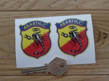 Abarth & Co Old Style Delicate Shield Static Cling Window Stickers. 55mm Pair.