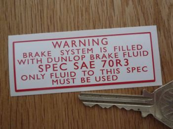 "Brake System Filled With Dunlop Brake Fluid Sticker. 3""."