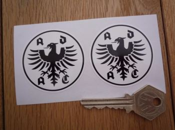 "ADAC German Automobile Club Black & White Stickers. 2"" Pair."