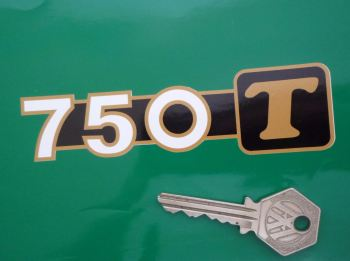"Moto Guzzi 750T Gold T Stickers. 4.75"" Pair."
