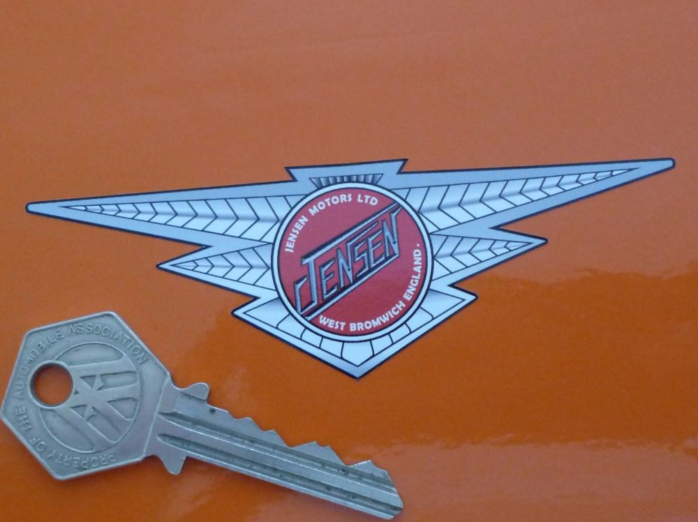 "Jensen Motors Ltd Winged Logo Sticker. 4"", 6"", or 7""."