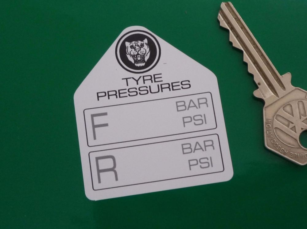 "Jaguar Tyre Pressure Stickers. 2.25"" Pair."