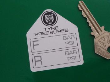 "Jaguar Tyre Pressure Stickers. 2.25"" Pair."