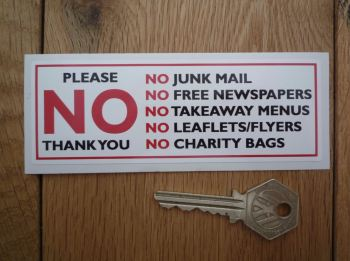 "Please No Junk Mail, Leaflets, Flyers, etc. Black, Red, & White Sticker. 4.75""."