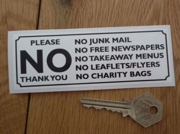 "Please No Junk Mail, Leaflets, Flyers, etc. Black & White Sticker. 4.75""."