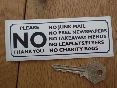 please no junk mail leaflets flyers etc black white sticker