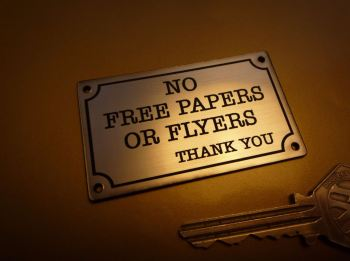 """No Free Papers or Flyers Thank You Wall Plaque Sign. 2.5""""."""
