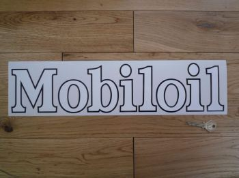 "Mobil Mobiloil Black & White Cut Vinyl Sticker. 17.5""."