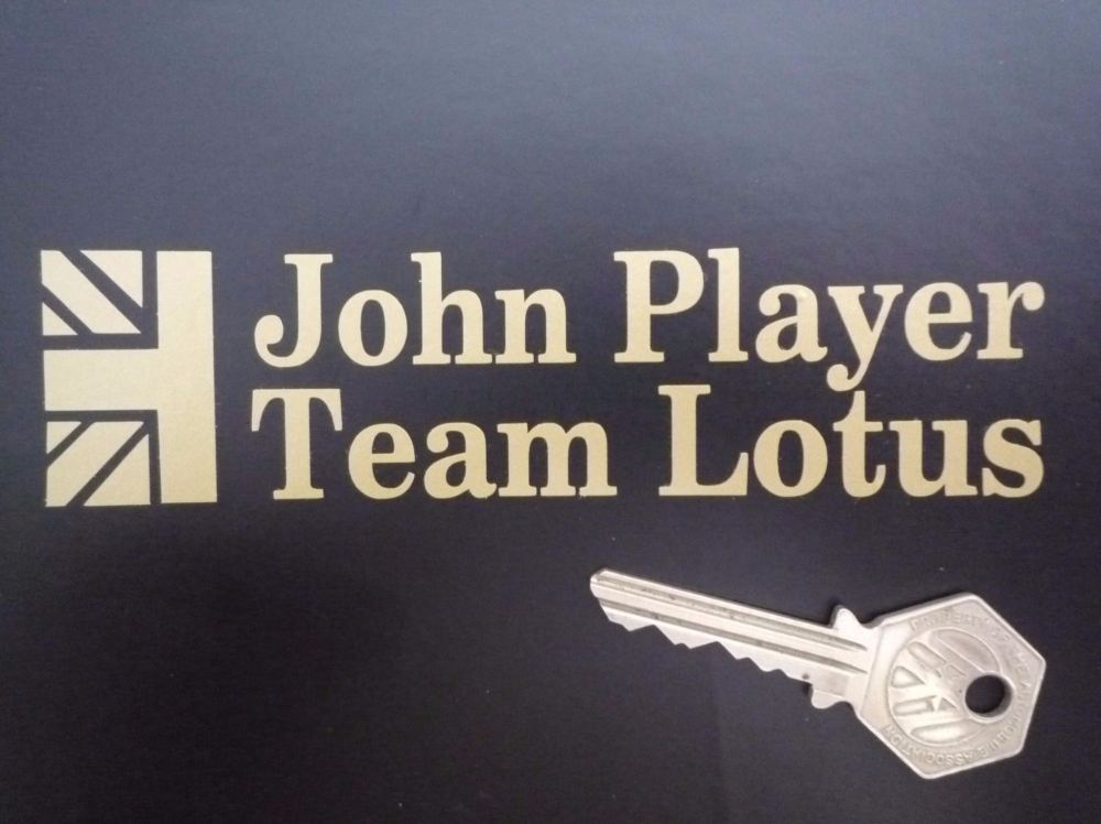 "John Player Team Lotus Cut Text Sticker. 5.5""."