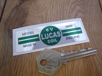 Lucas Ignition Coil Sticker. Green & Foil. 6V. MA6. B.