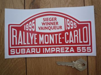 "Subaru Impreza 555 1995 Monte Carlo Rally Winner Sticker. 7""."