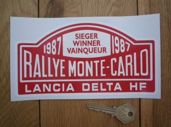 "Lancia Delta HF Monte Carlo Rally Winner Sticker. Various Years. 7""."