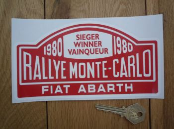 "Fiat Abarth 1980 Monte Carlo Rally Winner Sticker. 7""."