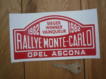 "Opel Ascona 1982 Monte Carlo Rally Winner Sticker. 7""."