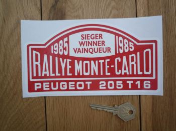 "Peugeot 205 T16 1985 Monte Carlo Rally Winner Sticker. 7""."
