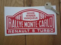 "Renault 5 Turbo 1981 Monte Carlo Rally Winner Sticker. 7""."