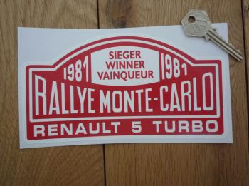 "Renault 5 Turbo 1981 Monte Carlo Rally Winner Sticker. 7""."