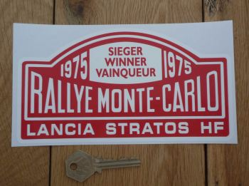 "Lancia Stratos HF Monte Carlo Rally Winner Sticker. Various Years. 7""."