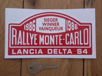 "Lancia Delta S4 1986 Monte Carlo Rally Winner Sticker. 7""."