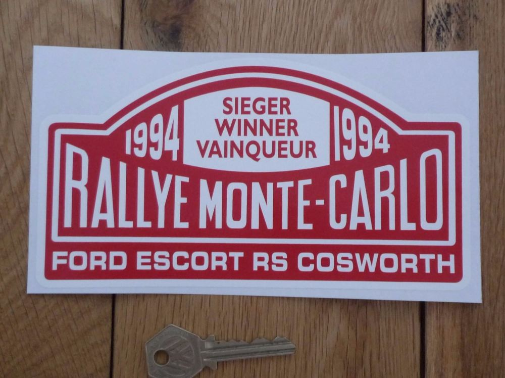 "Ford Escort RS Cosworth 1994 Monte Carlo Rally Winner Sticker. 7""."