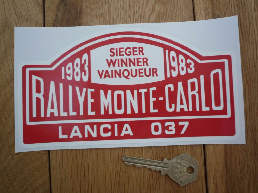 "Lancia 037 1983 Monte Carlo Rally Winner Sticker. 7""."