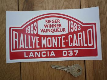 "Lancia 037 1983 Monte Carlo Rally Winner Sticker. 7""."