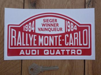 "Audi Quattro 1984 Monte Carlo Rally Winner Sticker. 7""."