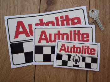 "Autolite Plug & Chequered Off White Oblong Stickers. 4"", 6"" or 8"" Pair."