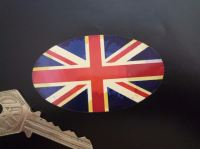 "Union Jack Aged Style Flag Oval Sticker. 3"" or 4""."