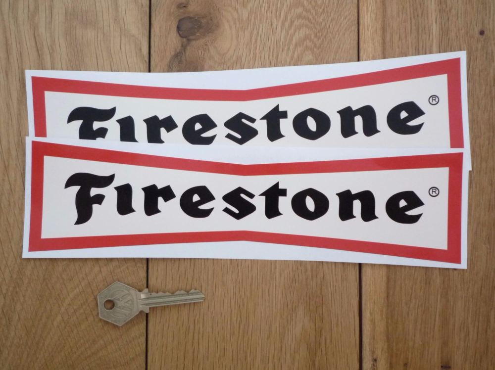 """Firestone 'Dicky Bow' Red & Off White with Black Letters Stickers. 10"""" Pair."""