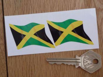 "Jamaican Wavy Flag Stickers. 2"" Pair."