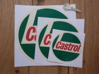 "Castrol '68 Onwards Off White Circular Stickers. 4"", 6"", or 8"" Pair."