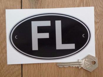 """FL Liechtenstein Black & Silver ID Plate Sticker. 5""""."""