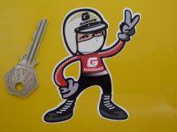 "Gas Gas Jet Helmeted Trials Rider 2 Fingered Salute Sticker. 3.5""."