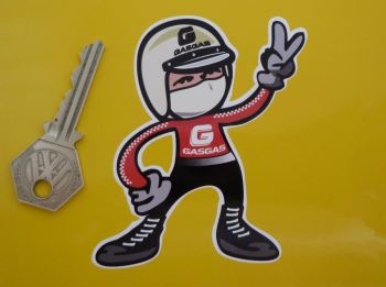 "Gas Gas Jet Helmeted Trials Rider 2 Fingered Salute Sticker. 3.5""."