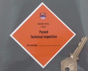 "Sebring 1967 ARCF Passed Technical Inspection Sticker. Style 2. 4""."