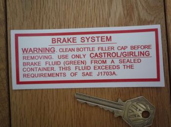 "Jaguar Servo Brake System (Green Fluid) Sticker. 4.5""."