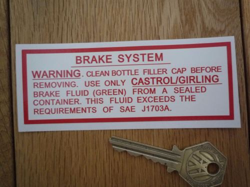 Jaguar Servo Brake System (Green Fluid) Sticker. 4.5