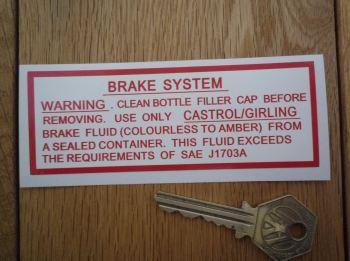 "Jaguar Servo Brake System (Colourless to Amber Fluid) Sticker. 4.5""."