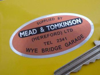 "Mead & Tomkinson (Hereford) Ltd Dealers Sticker. 2.5""."