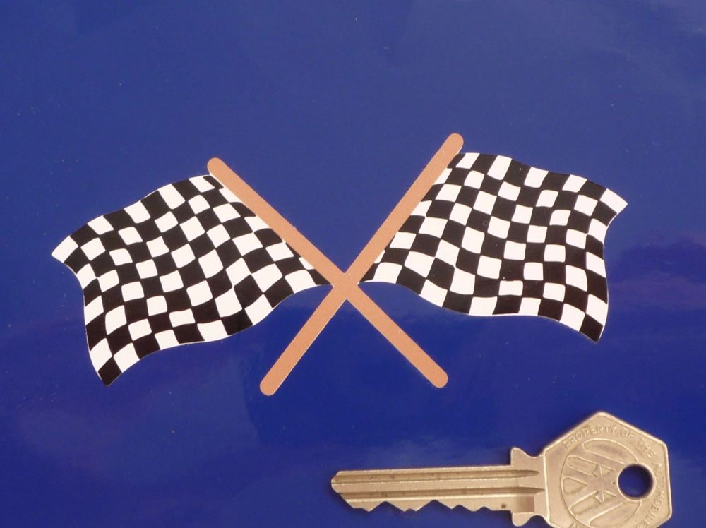 "Chequered Flag Crossed Old Style Sticker. 4.25""."