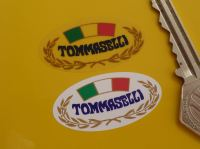 "Tommaselli Motorcycle Parts Oval Stickers. 1.75"" Pair."