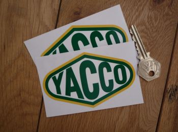 "Yacco Shaped Stickers. 4"" or 10"" Pair."
