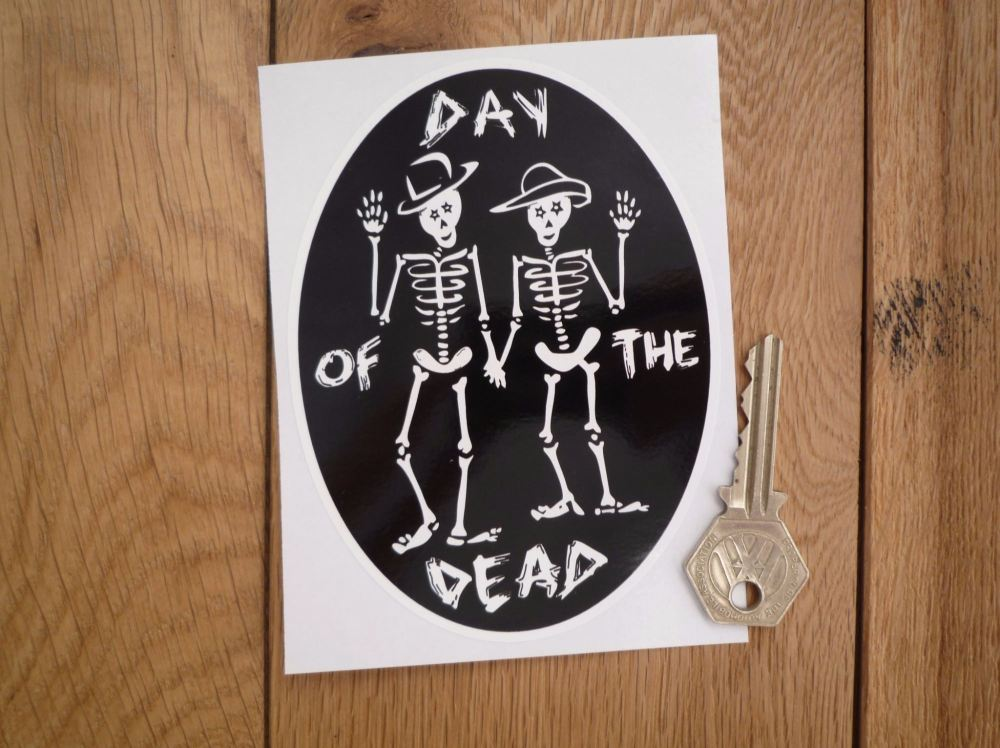 "Day of the Dead Skeletons Black & White Oval Sticker. 5""."